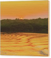 Colorful Sunrise Over Island In Galapagos Wood Print