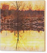 Colorful Sunrise Textured Reflections Wood Print