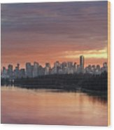 Colorful Sunset Over Vancouver Bc Downtown Skyline Wood Print