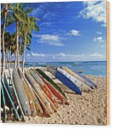 Colorful Surfboards On Waikiki Beach Wood Print