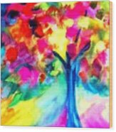 Colorful Tree Wood Print