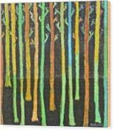 Colorful Trees Wood Print