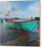 Colorful Turquoise Boat Near The Cambodia Vietnam Border Wood Print