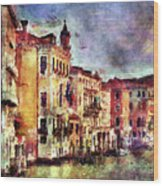 Colorful Venice Canal Wood Print