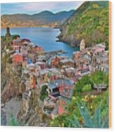Colorful Vernazza From Behind Wood Print