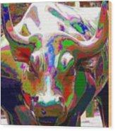 Colorful Wall Street Bull Wood Print