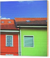 Colorful Walls And A Cloud Wood Print