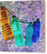 Colorful Water Bottles Wood Print
