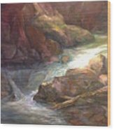 Colorful Water Flow Wood Print