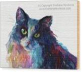 Colorful Watercolor Cat By Svetlana Wood Print