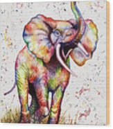 Colorful Watercolor Elephant Wood Print