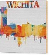 Colorful Wichita Skyline Silhouette Wood Print