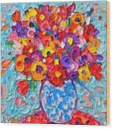 Colorful Wildflowers - Abstract Floral Art By Ana Maria Edulescu Wood Print