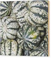 Colorful Winter Acorn Squash On Display Wood Print