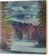 Colorful Winter Wonderland Wood Print