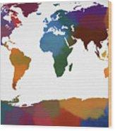 Colorful World Map Wood Print