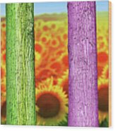 Colorfull Tree Trunks In Thefield. Abstract Psychedelic Colors Wood Print