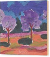 Colorfull Trees Wood Print