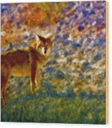 Colorized Death Valley Coyote Wood Print