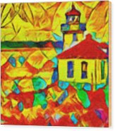 Colors Of Lime Kiln Lighthouse Wood Print