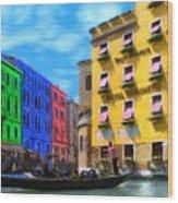 Colors Of Venice Wood Print by Jeff Kolker