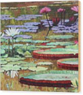 Colors on the Lily Pond Wood Print