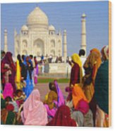 Colorful Saris At Taj Mahal Wood Print