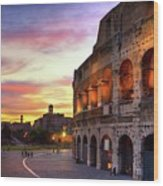 Colosseum At Sunset Wood Print
