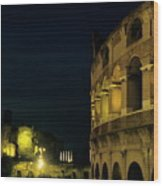 Colosseum Illuminated At Night And The Forums Wood Print