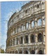 Colosseum Or Coliseum Pencil Wood Print