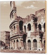 Colosseum Toned Sepia Wood Print by Stefano Senise