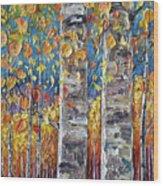 Colourful Autumn Aspen Trees By Lena Owens @olena Art Wood Print