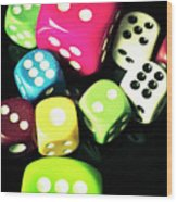 Colourful Casino Dice  Wood Print