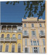 Colourful Facade Of Traditional Buildings In Como, Italy Wood Print