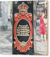 Colourful Lamp Post With The City Of Westminster Coat Of Arms London Wood Print