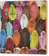 Colourful Morroccan Slipper Wood Print