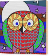 Colourful Owl Wood Print
