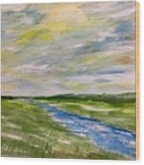 Colourful Sky Over The Creek Wood Print