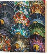 Colourful Umbrellas Bangkok Thailand Wood Print