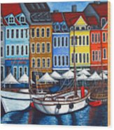 Colours Of Nyhavn Wood Print by Lisa  Lorenz
