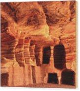 Colours Of Petra Wood Print by Paul Cowan