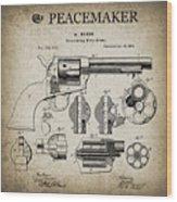 Colt .45 Peacemaker Revolver Patent  1875 Wood Print