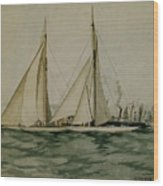 Columbia And Shamrock  America's Cup Wood Print