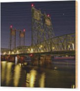 Columbia Crossing I-5 Interstate Bridge At Night Wood Print