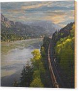 Columbia Gorge Train Wood Print