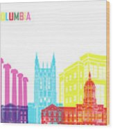 Columbia Mo Skyline Pop Wood Print