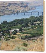 Columbia River And Biggs Bridge Wood Print