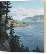 Columbia River Cliffside Wood Print