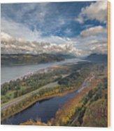 Columbia River Gorge In Autumn Wood Print