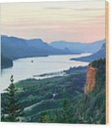 Columbia River With Vista House Wood Print